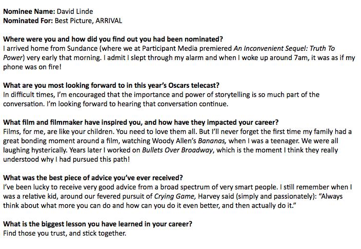 David Linde - Oscar Nominee Questionnaires 2017: Oscar