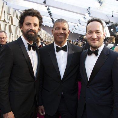 Bob Persichetti, Peter Ramsey, Rodney Rothman on the Oscars Red Carpet