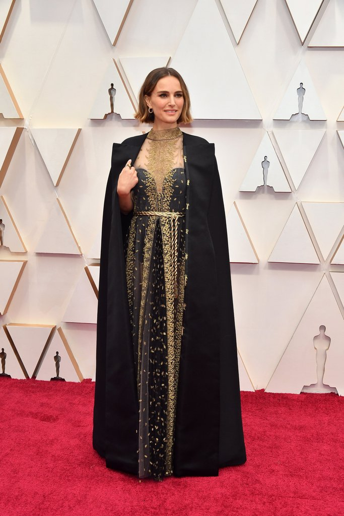 Image result for natalie portman red carpet oscars 2020